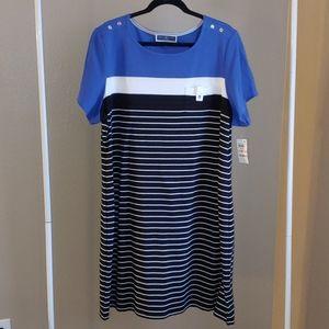 Blue, black and white striped dress